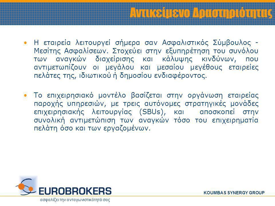 ασφαλίζει την ανταγωνιστικότητά σας KOUMBAS SYNERGY GROUP Αντικείμενο Δραστηριότητας •Η εταιρεία λειτουργεί σήμερα σαν Ασφαλιστικός Σύμβουλος - Μεσίτη