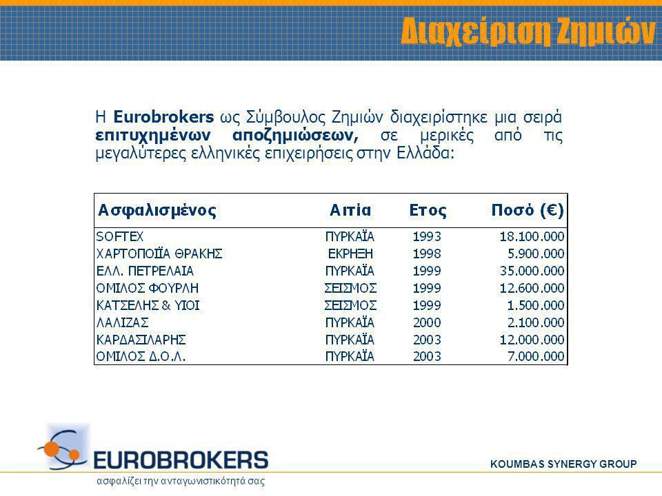 ασφαλίζει την ανταγωνιστικότητά σας KOUMBAS SYNERGY GROUP Διαχείριση Ζημιών Η Eurobrokers ως Σύμβουλος Ζημιών διαχειρίστηκε μια σειρά επιτυχημένων απο