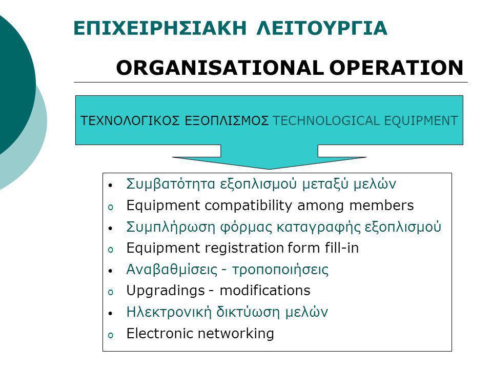 ΕΠΙΧΕΙΡΗΣΙΑΚΗ ΛΕΙΤΟΥΡΓΙΑ ORGANISATIONAL OPERATION ΤΕΧΝΟΛΟΓΙΚΟΣ ΕΞΟΠΛΙΣΜΟΣTECHNOLOGICAL EQUIPMENT • Συμβατότητα εξοπλισμού μεταξύ μελών o Equipment com