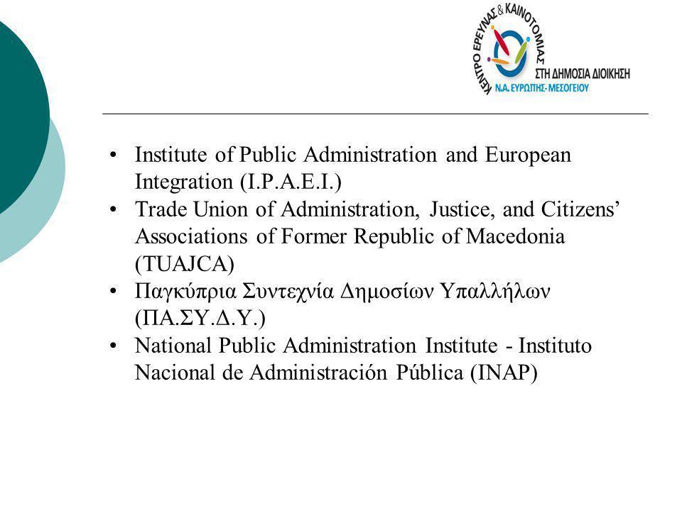ΣΚΟΠΟΙ AIMS •Επιστημονική και ερευνητική υποστήριξη της δημόσιας διοίκησης •Ανάπτυξη καινοτόμων προσεγγίσεων και μεθόδων στα συστήματα ανάπτυξης ανθρώπινου δυναμικού •Αξιοποίηση των νέων τεχνολογιών στη δημόσια διοίκηση για την παροχή αποτελεσματικών υπηρεσιών ποιότητας •Επιμόρφωση και κατάρτιση του ανθρώπινου δυναμικού του δημοσίου τομέα στο περιεχόμενο και τις μεθόδους του Σύγχρονου Δημόσιου Management •Συμβουλευτική υποστήριξη σε θέματα Δημόσιας Διοίκησης, αξιοποίησης νέων τεχνολογιών & ανάπτυξης ανθρώπινου δυναμικού •Σχεδιασμός - υλοποίηση κοινοτικών & άλλων προγραμμάτων, αξιοποιώντας και τη μέχρι σήμερα θετική εμπειρία •Aνάπτυξη της συνεργασίας των φορέων δημόσιας διοίκησης, για την αξιοποίηση εμπειρίας & τεχνογνωσίας •Ανάπτυξη και μοντελοποίηση ποιοτικών διαδικασιών στη Δημόσια Διοίκηση, για την ενίσχυση της προσβασιμότητας, της διαφάνειας και της ποιότητας στην εξυπηρέτηση των πολιτών  Scientific and research support to public administration  Innovative approaches and methods elaboration in human resource development systems  New technologies exploitation in public administration for the rendering of effective quality services  Training of the human resource in the public sector on Modern Public Management content and methods  Consulting support on Public Administration, new technologies exploitation and human resource development matters  Planning & implementation of E.U.