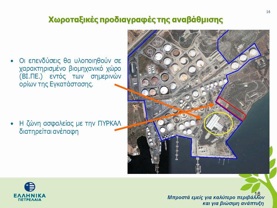 16 Χωροταξικές προδιαγραφές της αναβάθμισης •Οι επενδύσεις θα υλοποιηθούν σε χαρακτηρισμένο βιομηχανικό χώρο (ΒΙ.ΠΕ.) εντός των σημερινών ορίων της Εγ