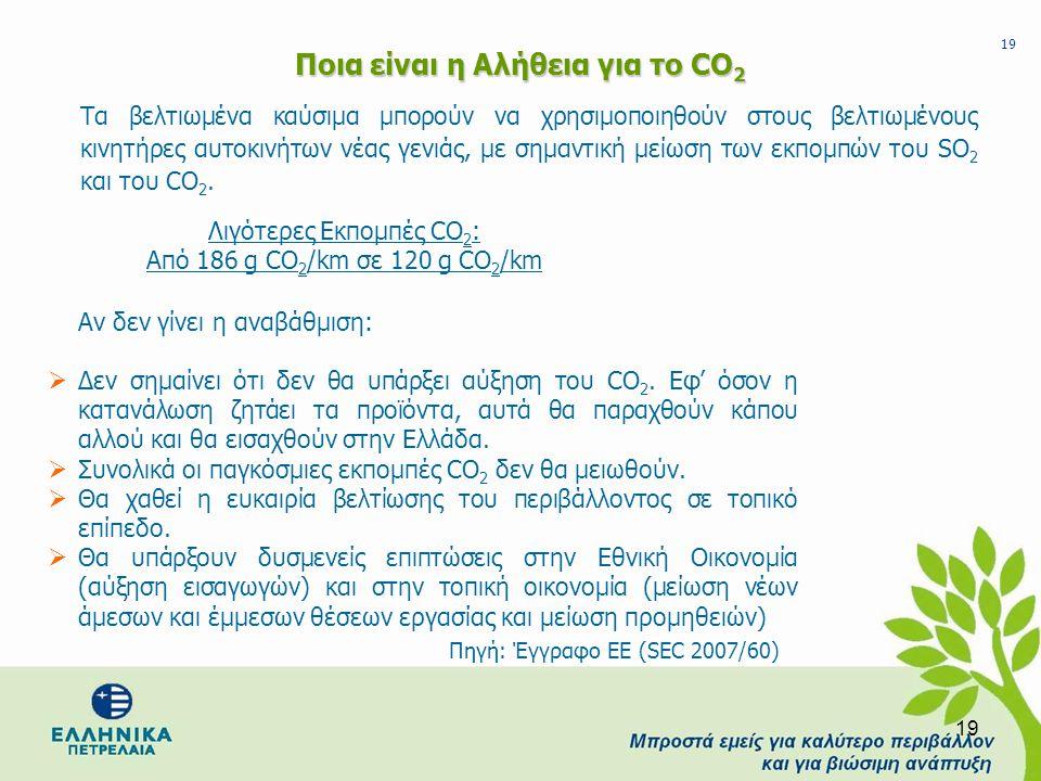 19 Ποια είναι η Αλήθεια για το CO 2 Τα βελτιωμένα καύσιμα μπορούν να χρησιμοποιηθούν στους βελτιωμένους κινητήρες αυτοκινήτων νέας γενιάς, με σημαντικ