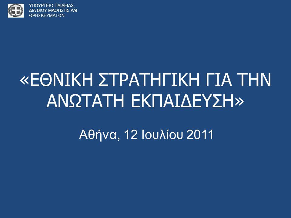 Πλαίσιο Παρουσίασης • Εισαγωγή-παρούσα κατάσταση • Διαδικασία διαβούλευσης για τις προτεινόμενες αλλαγές • Παρουσίαση των βασικών πυλώνων 1.Αυτοδιοίκηση 2.Μοντέλο Διοίκησης - Ρόλος φοιτητών 3.Νέα οργάνωση των σπουδών 4.Οι καθηγητές - εξέλιξη 5.Επώνυμες Έδρες 6.Διεθνοποίηση 7.Αξιολόγηση και πιστοποίηση 8.Νέοι κανόνες χρηματοδότησης 9.Μετεξέλιξη της ΑΔΙΠ ΥΠΟΥΡΓΕΙΟ ΠΑΙΔΕΙΑΣ, ΔΙΑ ΒΙΟΥ ΜΑΘΗΣΗΣ ΚΑΙ ΘΡΗΣΚΕΥΜΑΤΩΝ
