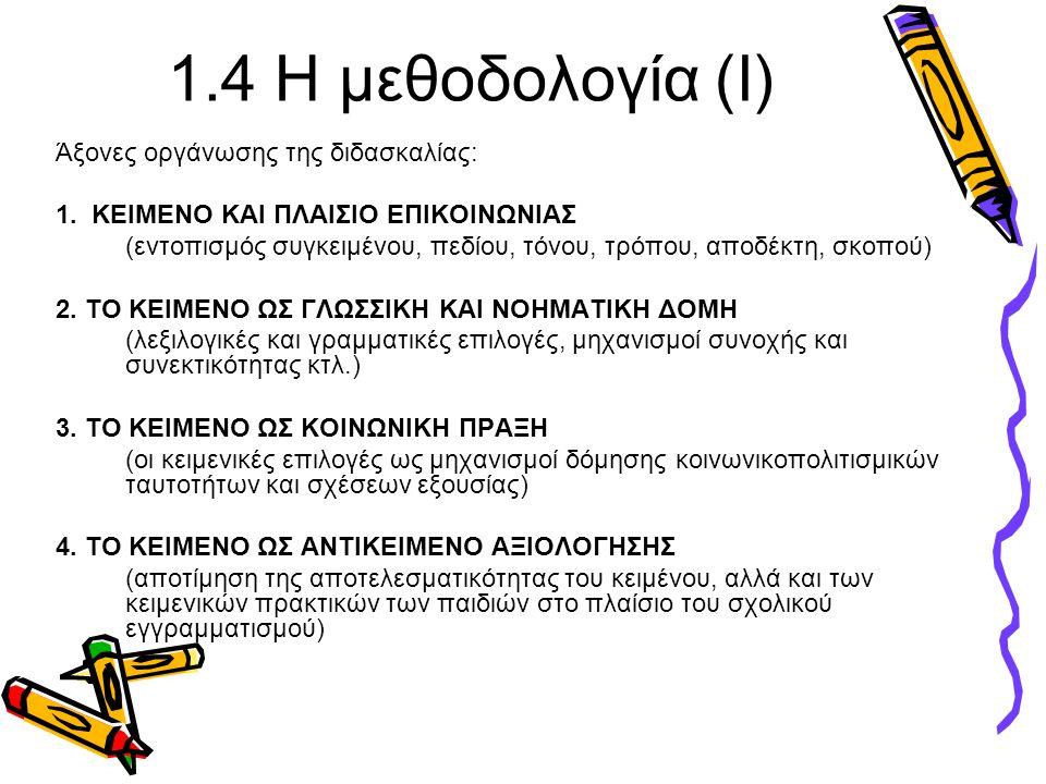 1.4 Η μεθοδολογία (Ι) Άξονες οργάνωσης της διδασκαλίας: 1. ΚΕΙΜΕΝΟ ΚΑΙ ΠΛΑΙΣΙΟ ΕΠΙΚΟΙΝΩΝΙΑΣ (εντοπισμός συγκειμένου, πεδίου, τόνου, τρόπου, αποδέκτη,