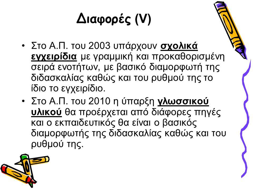 Διαφορές (V) •Στο Α.Π. του 2003 υπάρχουν σχολικά εγχειρίδια με γραμμική και προκαθορισμένη σειρά ενοτήτων, με βασικό διαμορφωτή της διδασκαλίας καθώς
