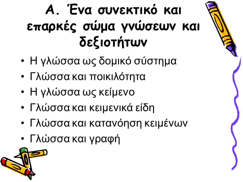 1.4 Η μεθοδολογία (V) ζ) η διδασκαλία της δομής της νέας ελληνικής γίνεται με σκοπό την εμπέδωση και την κατανόηση της κειμενικής και υφολογικής λειτουργίας των φωνολογικών και μορφοσυντακτικών φαινομένων.