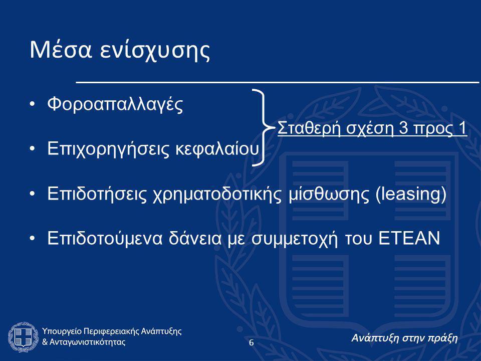 Ανάπτυξη στην πράξη 6 Μέσα ενίσχυσης •Φοροαπαλλαγές •Επιχορηγήσεις κεφαλαίου •Επιδοτήσεις χρηματοδοτικής μίσθωσης (leasing) •Επιδοτούμενα δάνεια με συμμετοχή του ΕΤΕΑΝ Σταθερή σχέση 3 προς 1
