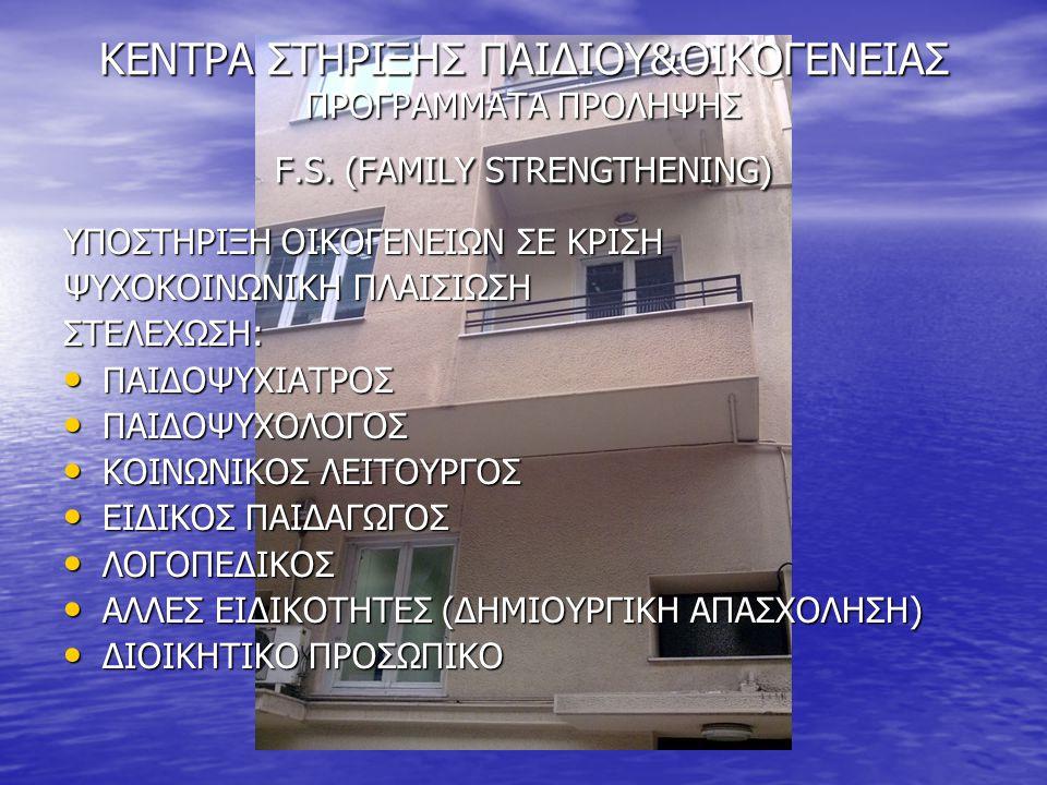 ΚΕΝΤΡΑ ΣΤΗΡΙΞΗΣ ΠΑΙΔΙΟΥ&ΟΙΚΟΓΕΝΕΙΑΣ ΠΡΟΓΡΑΜΜΑΤΑ ΠΡΟΛΗΨΗΣ F.S. (FAMILY STRENGΤHENING) ΥΠΟΣΤΗΡΙΞΗ ΟΙΚΟΓΕΝΕΙΩΝ ΣΕ ΚΡΙΣΗ ΨΥΧΟΚΟΙΝΩΝΙΚΗ ΠΛΑΙΣΙΩΣΗ ΣΤΕΛΕΧΩΣΗ