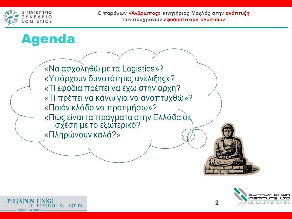 Ο παράγων «Άνθρωπος» κινητήριος Μοχλός στην ανάπτυξη των σύγχρονων εφοδιαστικών αλυσίδων Ο παράγων «Άνθρωπος» κινητήριος Μοχλός στην ανάπτυξη των σύγχρονων εφοδιαστικών αλυσίδων Το career Path του σύγχρονου Logistician 3o Παγκύπριο Συνέδριο Logistics Μιχάλης Ζιγλής