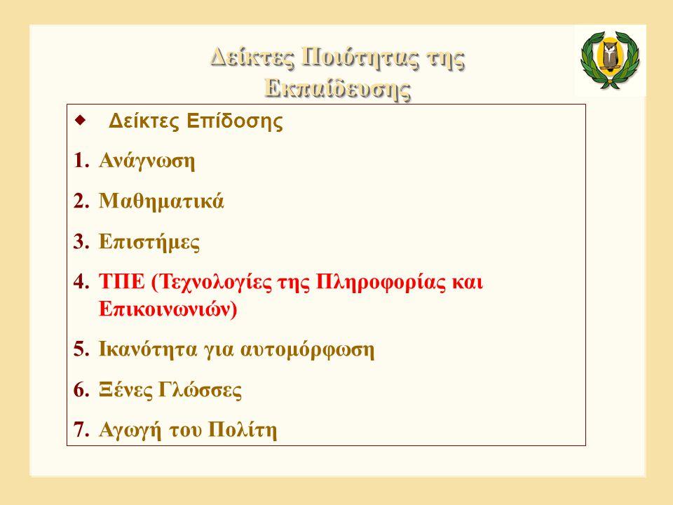  Δείκτες Επίδοσης 1.Ανάγνωση 2.Μαθηματικά 3.Επιστήμες 4.ΤΠΕ (Τεχνολογίες της Πληροφορίας και Επικοινωνιών) 5.Ικανότητα για αυτομόρφωση 6.Ξένες Γλώσσε