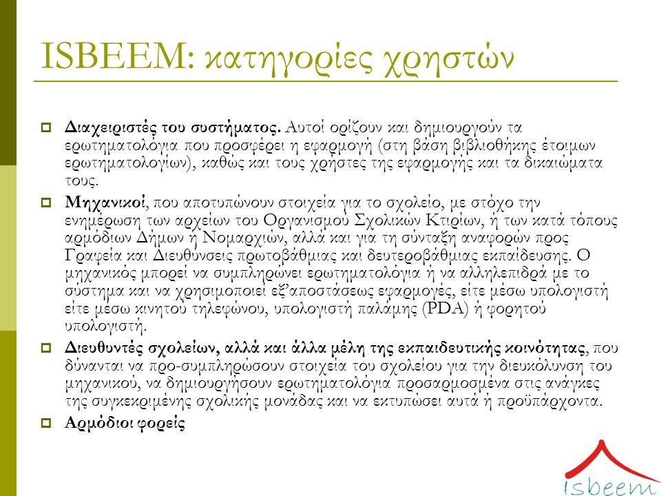 ISBEEM: κατηγορίες χρηστών  Διαχειριστές του συστήματος.