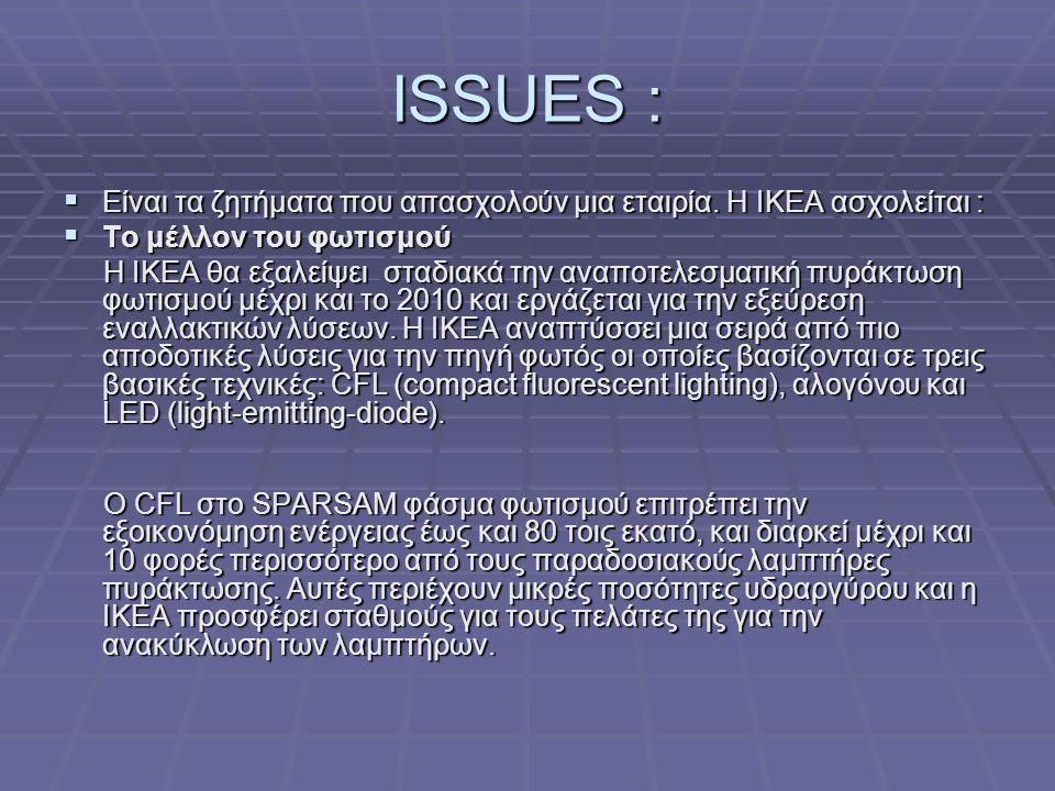 ISSUES :  Είναι τα ζητήματα που απασχολούν μια εταιρία.