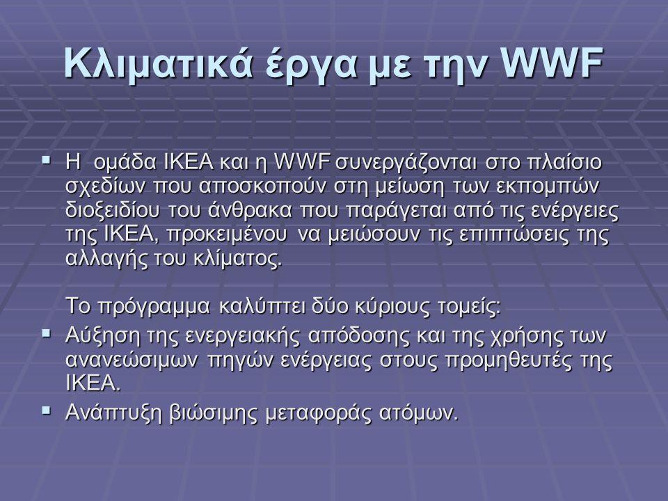 Κλιματικά έργα με την WWF  Η ομάδα IKEA και η WWF συνεργάζονται στο πλαίσιο σχεδίων που αποσκοπούν στη μείωση των εκπομπών διοξειδίου του άνθρακα που παράγεται από τις ενέργειες της ΙΚΕΑ, προκειμένου να μειώσουν τις επιπτώσεις της αλλαγής του κλίματος.