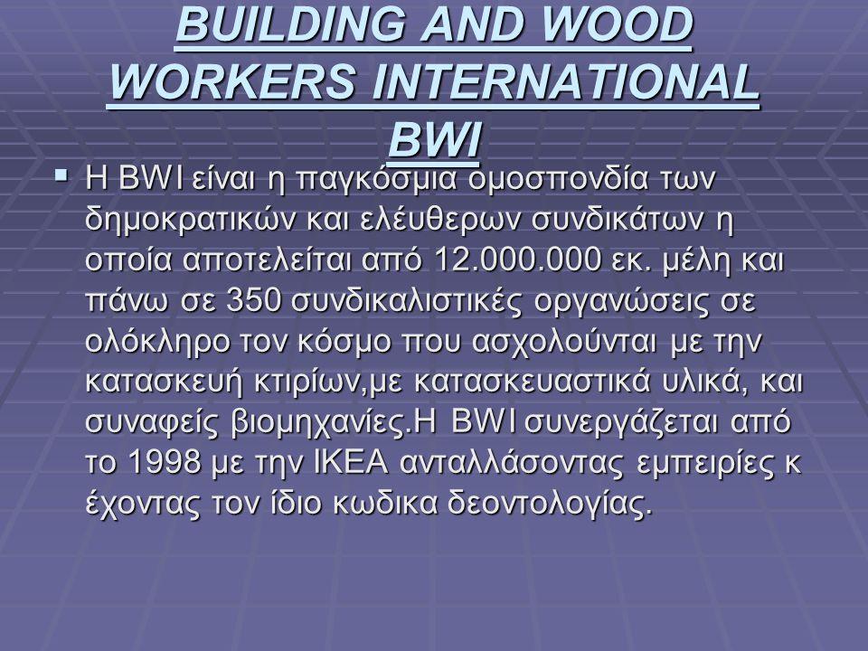 BUILDING AND WOOD WORKERS INTERNATIONAL BWI  H BWI είναι η παγκόσμια ομοσπονδία των δημοκρατικών και ελέυθερων συνδικάτων η οποία αποτελείται από 12.000.000 εκ.
