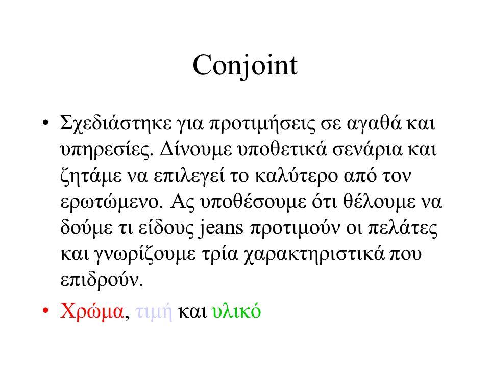Conjoint •Μπλε, Μαύρο, Άσπρο •30€, 40€, 50€ •Ύφασμα τζιν, βαμβάκι, βαμβακόλινο
