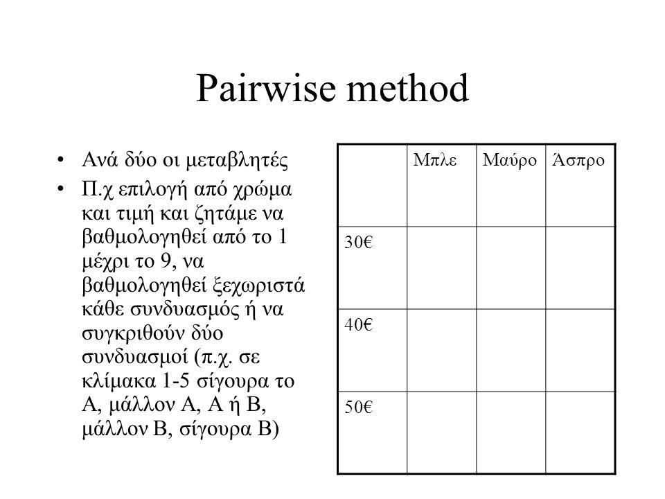 Full profile method •Ταυτόχρονα και τις τρεις μεταβλητές σε σενάρια, σύγκριση των δύο (απλή επιλογή ή συγκριτική σε κλίμακα 1-5) •Καλύτερη, γιατί οι άνθρωποι συνυπολογίζουν τις παραμέτρους.