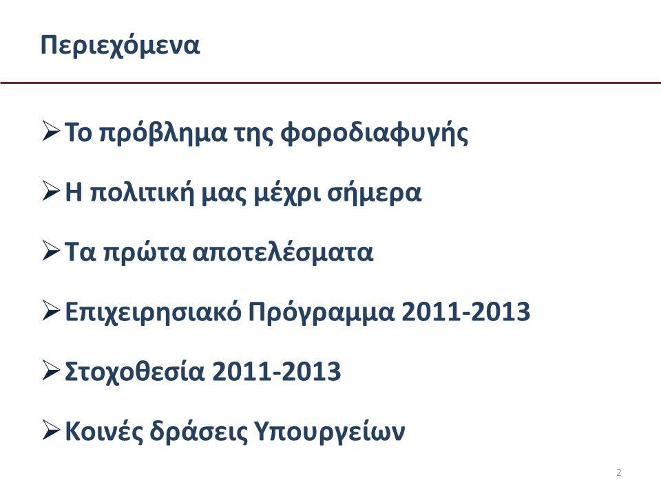 2 Περιεχόμενα  Το πρόβλημα της φοροδιαφυγής  Η πολιτική μας μέχρι σήμερα  Τα πρώτα αποτελέσματα  Επιχειρησιακό Πρόγραμμα 2011-2013  Στοχοθεσία 2011-2013  Κοινές δράσεις Υπουργείων