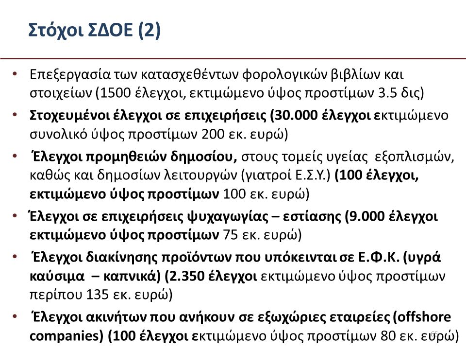 Στόχοι ΣΔΟΕ (2) • Επεξεργασία των κατασχεθέντων φορολογικών βιβλίων και στοιχείων (1500 έλεγχοι, εκτιμώμενο ύψος προστίμων 3.5 δις) • Στοχευμένοι έλεγχοι σε επιχειρήσεις (30.000 έλεγχοι εκτιμώμενο συνολικό ύψος προστίμων 200 εκ.