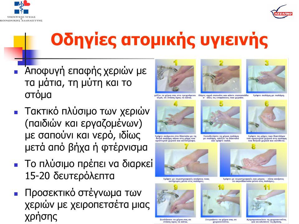 Οδηγίες ατομικής υγιεινής  Αποφυγή επαφής χεριών με τα μάτια, τη μύτη και το στόμα  Τακτικό πλύσιμο των χεριών (παιδιών και εργαζομένων) με σαπούνι