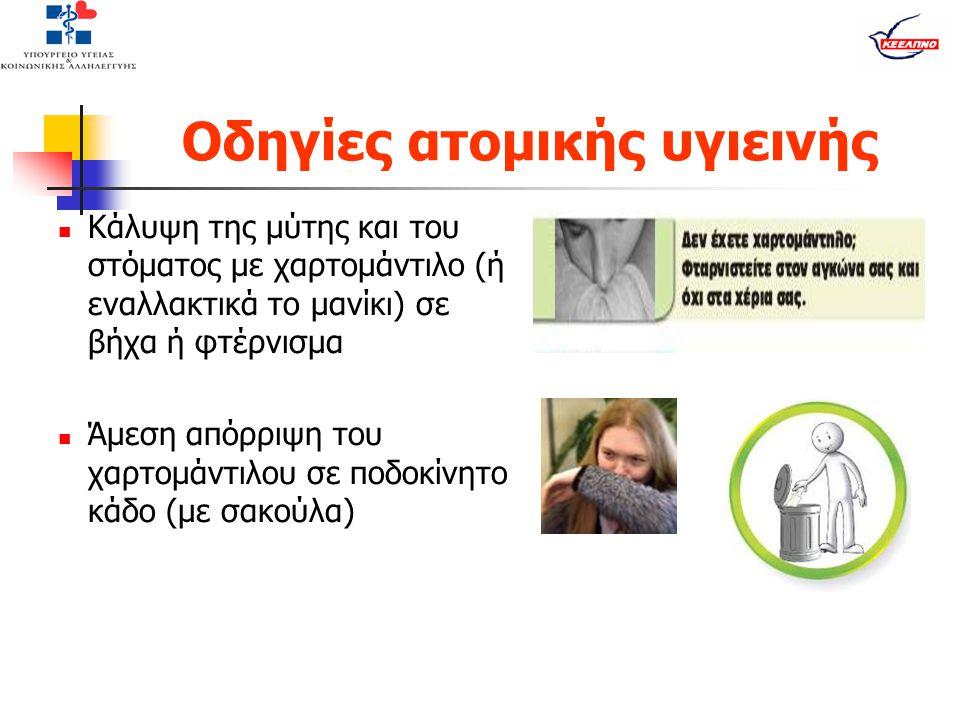 Οδηγίες ατομικής υγιεινής  Κάλυψη της μύτης και του στόματος με χαρτομάντιλο (ή εναλλακτικά το μανίκι) σε βήχα ή φτέρνισμα  Άμεση απόρριψη του χαρτο