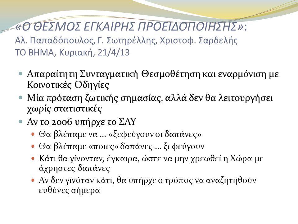«Ο ΘΕΣΜΟΣ ΕΓΚΑΙΡΗΣ ΠΡΟΕΙΔΟΠΟΙΗΣΗΣ»: Αλ. Παπαδόπουλος, Γ. Σωτηρέλλης, Χριστοφ. Σαρδελής ΤΟ ΒΗΜΑ, Κυριακή, 21/4/13  Απαραίτητη Συνταγματική Θεσμοθέτηση