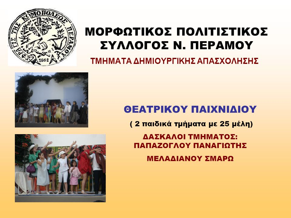 ΜΟΡΦΩΤΙΚΟΣ ΠΟΛΙΤΙΣΤΙΚΟΣ ΣΥΛΛΟΓΟΣ Ν. ΠΕΡΑΜΟΥ ΤΜΗΜΑΤΑ ΔΗΜΙΟΥΡΓΙΚΗΣ ΑΠΑΣΧΟΛΗΣΗΣ ΘΕΑΤΡΙΚΟΥ ΠΑΙΧΝΙΔΙΟΥ ( 2 παιδικά τμήματα με 25 μέλη) ΔΑΣΚΑΛΟI ΤΜΗΜΑΤΟΣ: Π