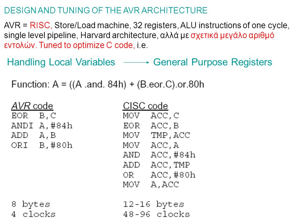 DESIGN AND TUNING OF THE AVR ARCHITECTURE AVR = RISC, Store/Load machine, 32 registers, ALU instructions of one cycle, single level pipeline, Harvard architecture, αλλά με σχετικά μεγάλο αριθμό εντολών.