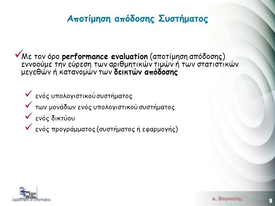 9 Α. Βαφειάδης Αποτίμηση απόδοσης Συστήματος  Με τον όρο performance evaluation (αποτίμηση απόδοσης) εννοούμε την εύρεση των αριθμητικών τιμών ή των