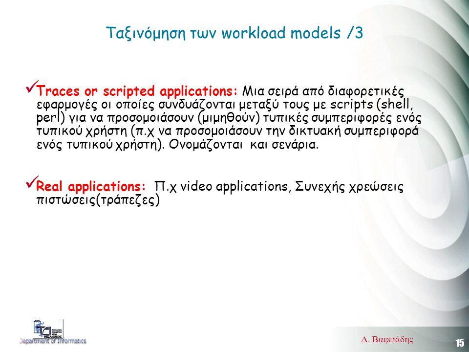15 Α. Βαφειάδης Ταξινόμηση των workload models /3  Traces or scripted applications: Μια σειρά από διαφορετικές εφαρμογές οι οποίες συνδυάζονται μεταξ