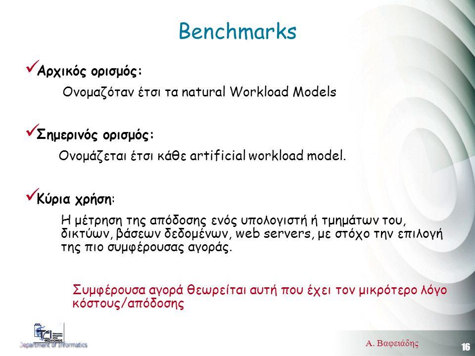 16 Α. Βαφειάδης Benchmarks  Αρχικός ορισμός: Ονομαζόταν έτσι τα natural Workload Models  Σημερινός ορισμός: Ονομάζεται έτσι κάθε artificial workload