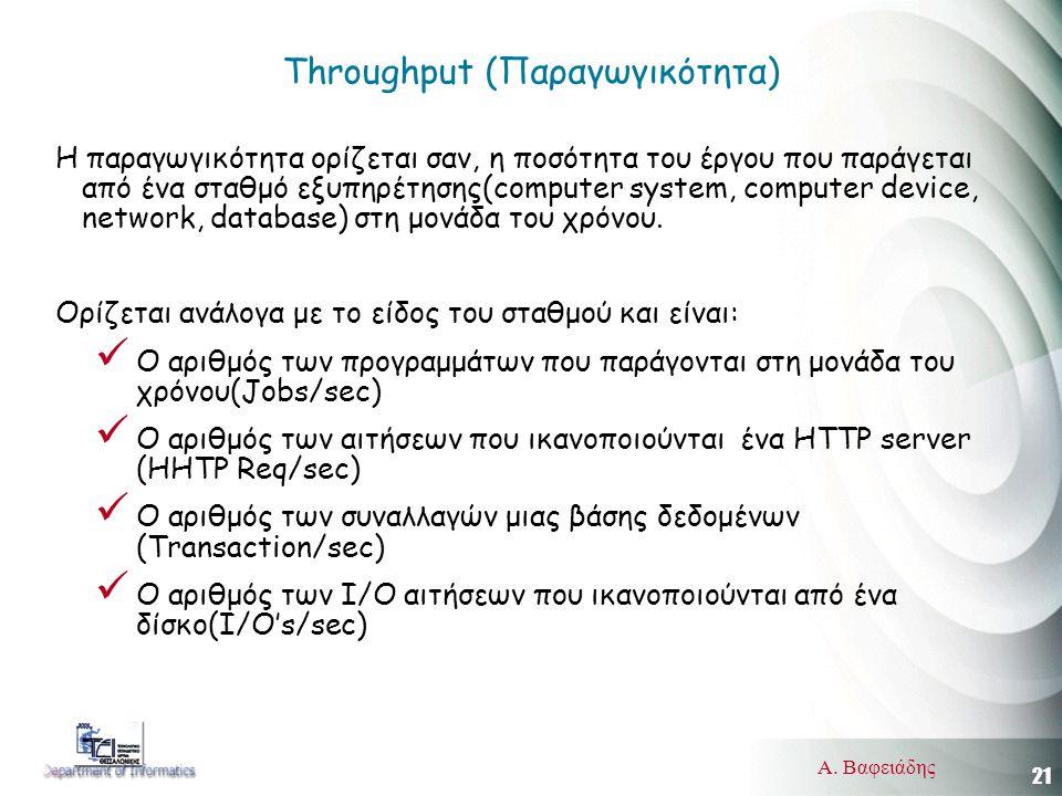 21 Α. Βαφειάδης Throughput (Παραγωγικότητα) Η παραγωγικότητα ορίζεται σαν, η ποσότητα του έργου που παράγεται από ένα σταθμό εξυπηρέτησης(computer sys