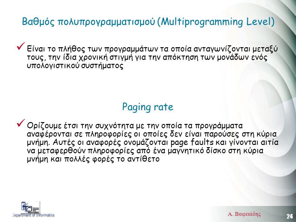 24 Α. Βαφειάδης Βαθμός πολυπρογραμματισμού (Multiprogramming Level)  Είναι το πλήθος των προγραμμάτων τα οποία ανταγωνίζονται μεταξύ τους, την ίδια χ