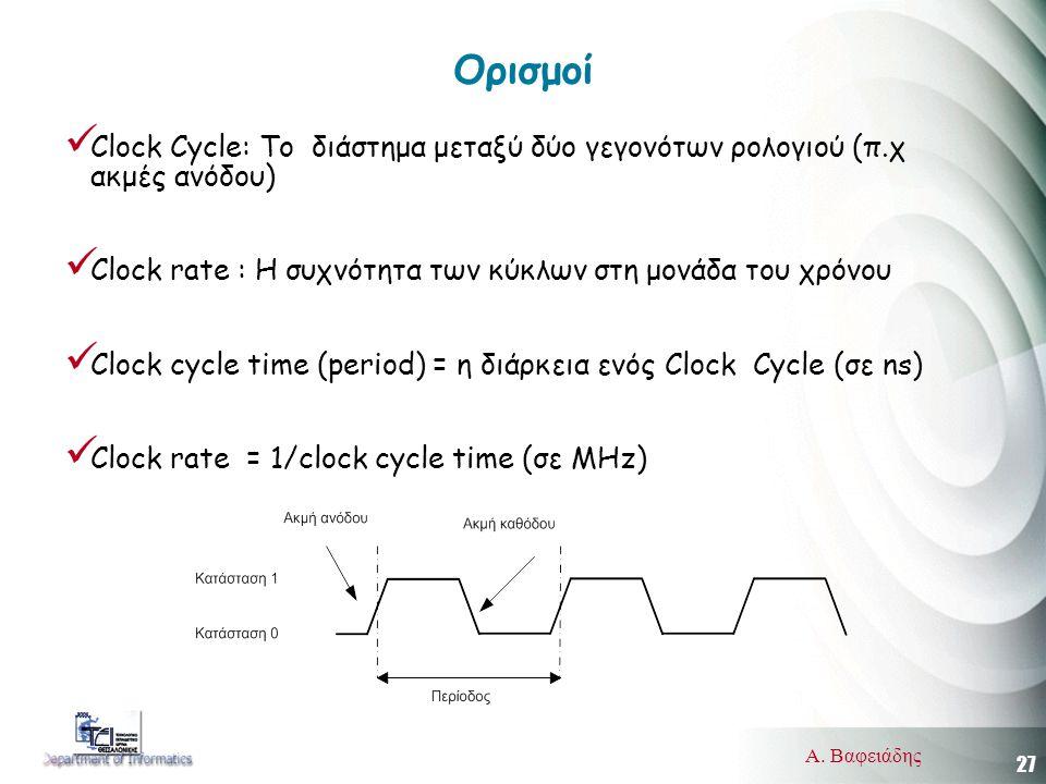 27 Α. Βαφειάδης Ορισμοί  Clock Cycle: Το διάστημα μεταξύ δύο γεγονότων ρολογιού (π.χ ακμές ανόδου)  Clock rate : Η συχνότητα των κύκλων στη μονάδα τ