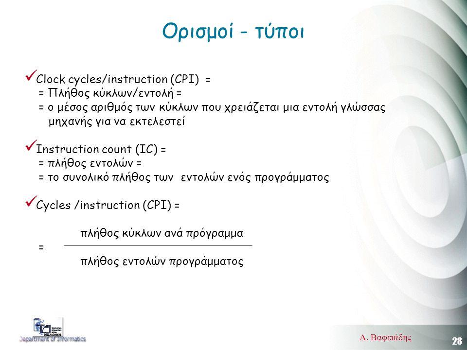 28 Α. Βαφειάδης Ορισμοί - τύποι  Clock cycles/instruction (CPI) = = Πλήθος κύκλων/εντολή = = ο μέσος αριθμός των κύκλων που χρειάζεται μια εντολή γλώ