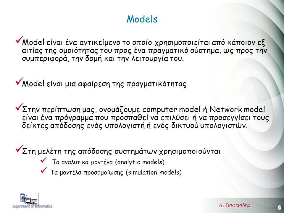 6 Α. Βαφειάδης Models  Model είναι ένα αντικείμενο το οποίο χρησιμοποιείται από κάποιον εξ αιτίας της ομοιότητας του προς ένα πραγματικό σύστημα, ως