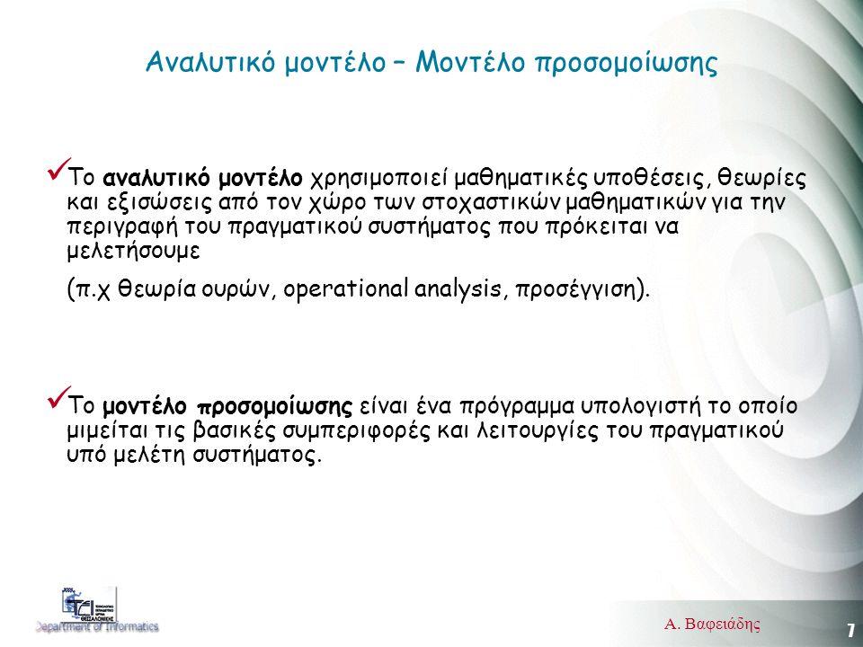 7 Α. Βαφειάδης Αναλυτικό μοντέλο – Μοντέλο προσομοίωσης  Το αναλυτικό μοντέλο χρησιμοποιεί μαθηματικές υποθέσεις, θεωρίες και εξισώσεις από τον χώρο
