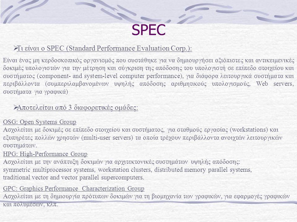 SPEC Είναι ένας μη κερδοσκοπικός οργανισμός που συστάθηκε για να δημιουργήσει αξιόπιστες και αντικειμενικές δοκιμές υπολογιστών για την μέτρηση και σύ