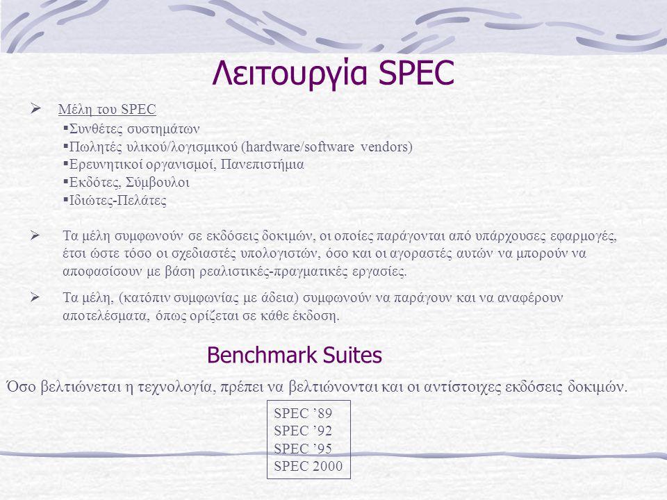Λειτουργία SPEC  Τα μέλη συμφωνούν σε εκδόσεις δοκιμών, οι οποίες παράγονται από υπάρχουσες εφαρμογές, έτσι ώστε τόσο οι σχεδιαστές υπολογιστών, όσο