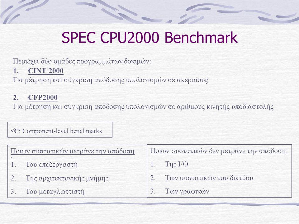 SPEC CPU2000 Benchmark Περιέχει δύο ομάδες προγραμμάτων δοκιμών: 1.CINT 2000 Για μέτρηση και σύγκριση απόδοσης υπολογισμών σε ακεραίους 2.CFP2000 Για