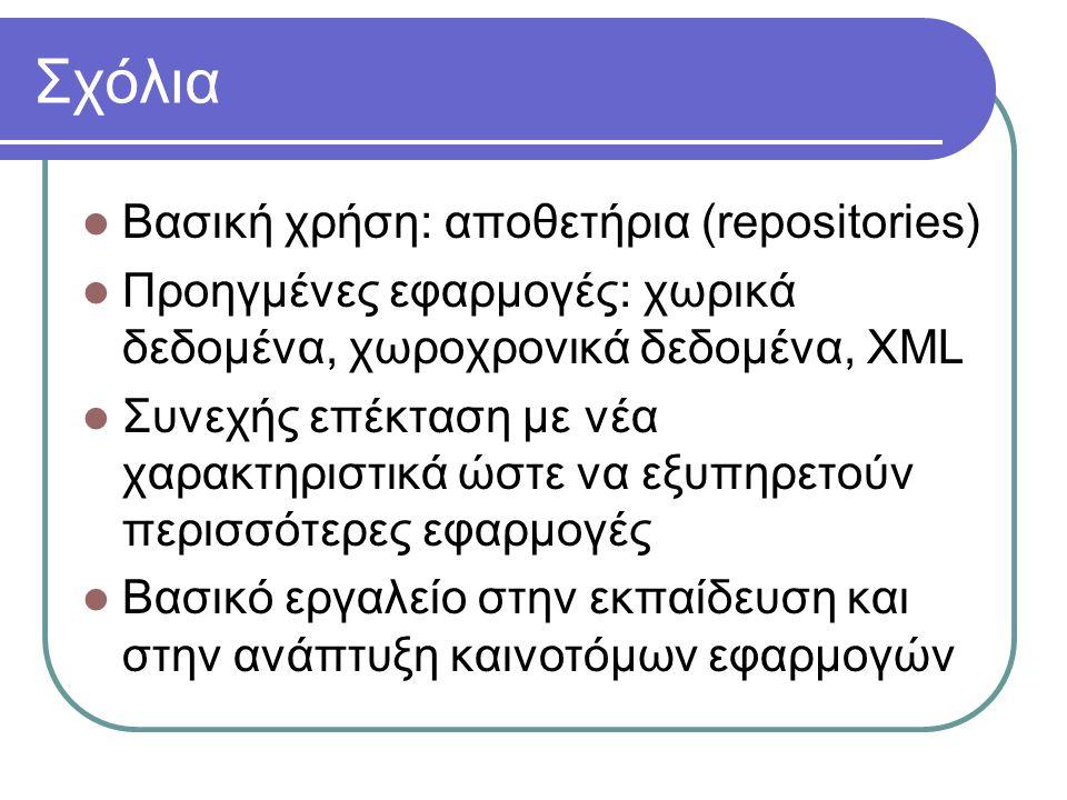 Σχόλια  Βασική χρήση: αποθετήρια (repositories)  Προηγμένες εφαρμογές: χωρικά δεδομένα, χωροχρονικά δεδομένα, XML  Συνεχής επέκταση με νέα χαρακτηριστικά ώστε να εξυπηρετούν περισσότερες εφαρμογές  Βασικό εργαλείο στην εκπαίδευση και στην ανάπτυξη καινοτόμων εφαρμογών