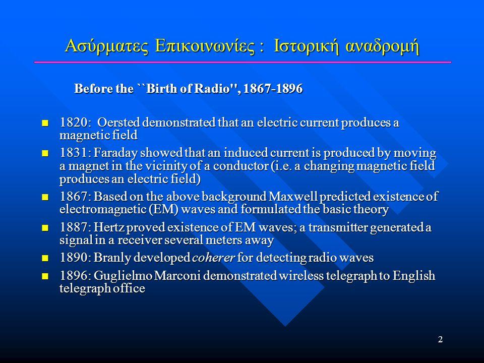 3 Ασύρματες Επικοινωνίες : Ιστορική αναδρομή The Birth of Radio The Birth of Radio  1897: Marconi awarded patent for wireless telegraph  1897: First ``Marconi station established on Needles island to communicate with English coast  1898: Marconi awarded English patent no.