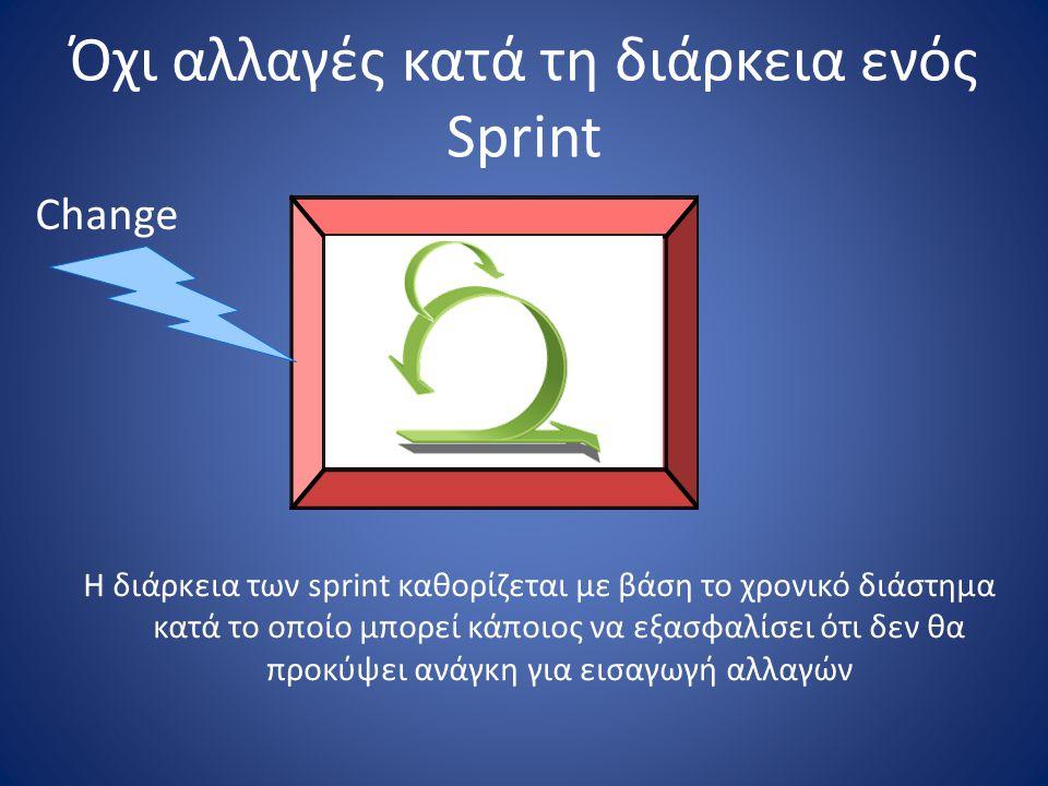 Όχι αλλαγές κατά τη διάρκεια ενός Sprint H διάρκεια των sprint καθορίζεται με βάση το χρονικό διάστημα κατά το οποίο μπορεί κάποιος να εξασφαλίσει ότι
