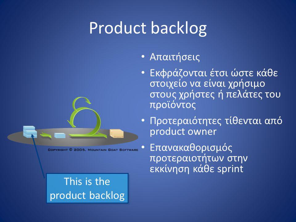 Product backlog • Απαιτήσεις • Εκφράζονται έτσι ώστε κάθε στοιχείο να είναι χρήσιμο στους χρήστες ή πελάτες του προϊόντος • Προτεραιότητες τίθενται απ