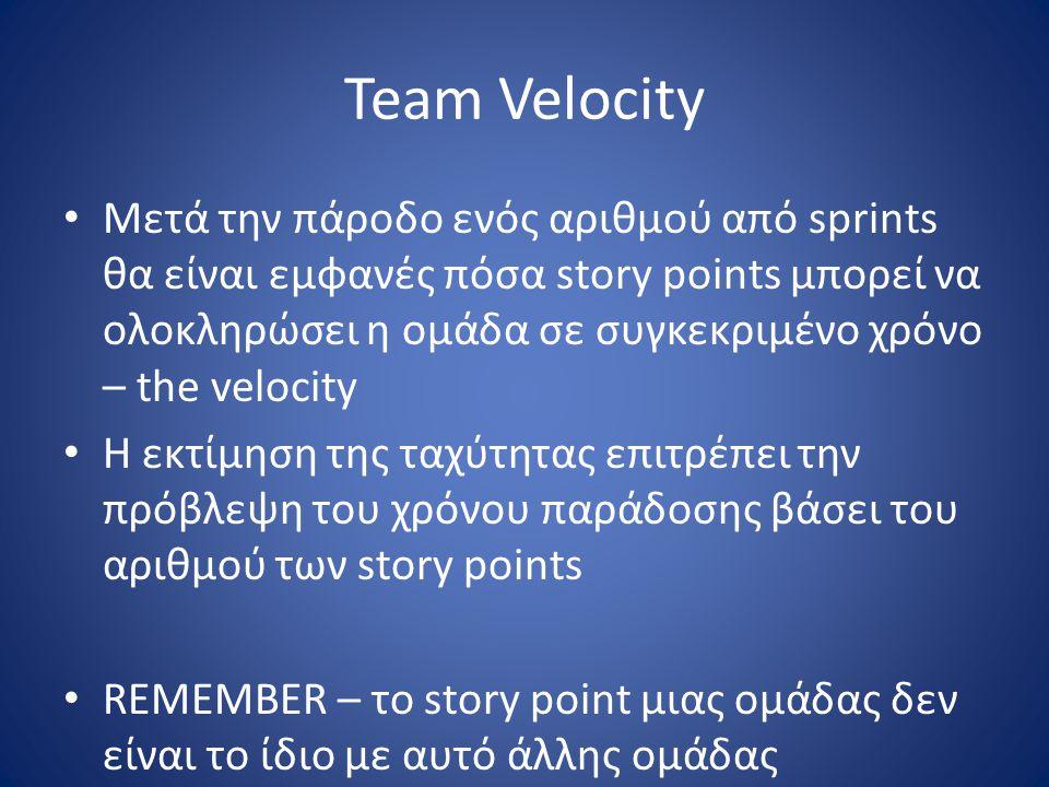 Team Velocity • Μετά την πάροδο ενός αριθμού από sprints θα είναι εμφανές πόσα story points μπορεί να ολοκληρώσει η ομάδα σε συγκεκριμένο χρόνο – the