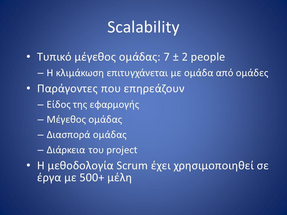 Scalability • Τυπικό μέγεθος ομάδας: 7 ± 2 people – Η κλιμάκωση επιτυγχάνεται με ομάδα από ομάδες • Παράγοντες που επηρεάζουν – Είδος της εφαρμογής –