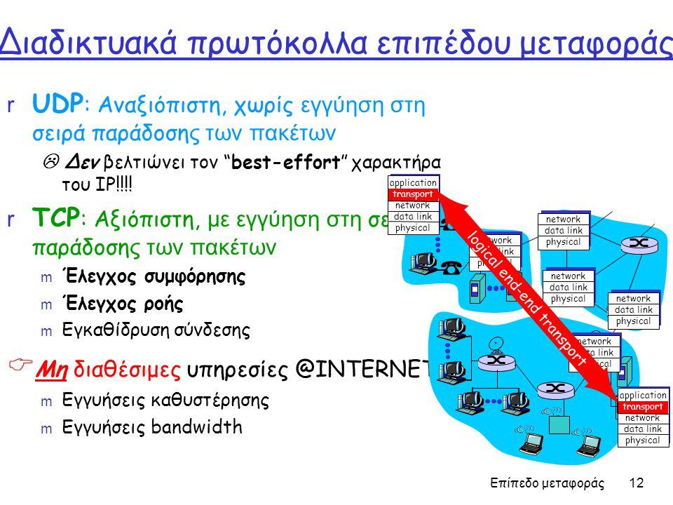 Επίπεδο μεταφοράς 12 Διαδικτυακά πρωτόκολλα επιπέδου μεταφοράς  UDP : Αναξιόπιστη, χωρίς εγγύηση στη σειρά παράδοση ς των πακέτων  Δεν βελτιώνει τον best-effort χαρακτήρα του IP!!!.