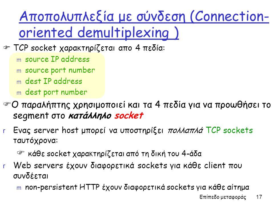 Επίπεδο μεταφοράς 17 Αποπολυπλεξία με σύνδεση (Connection- oriented demultiplexing )  TCP socket χαρα κ τηρίζεται απο 4 πεδία: m source IP address m source port number m dest IP address m dest port number  Ο παραλήπτης χρησιμοποιεί και τα 4 πεδία για να προωθήσει το segment στο κατάλληλο socket r Ενας server host μπορεί να υποστηρίξει πολλαπλά TCP sockets ταυτόχρονα:  κάθε socket χαρα κ τηρίζεται από τη δική του 4-άδα r Web servers έχουν διαφορετικά sockets για κάθε client που συνδέεται m non-persistent HTTP έχουν διαφορετικά sockets για κάθε αίτημα