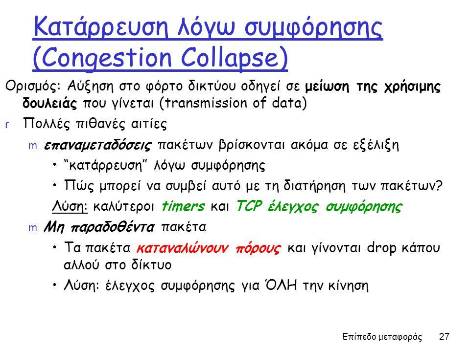 Επίπεδο μεταφοράς 27 Κατάρρευση λόγω συμφόρησης (Congestion Collapse) Ορισμός: Αύξηση στο φόρτο δικτύου οδηγεί σε μείωση της χρήσιμης δουλειάς που γίνεται (transmission of data) r Πολλές πιθανές αιτίες m επαναμεταδόσεις πακέτων βρίσκονται ακόμα σε εξέλιξη • κατάρρευση λόγω συμφόρησης •Πώς μπορεί να συμβεί αυτό με τη διατήρηση των πακέτων.