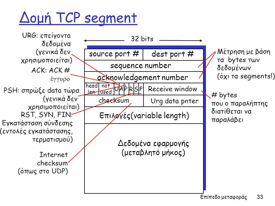 Επίπεδο μεταφοράς 33 Δομή TCP segment source port # dest port # 32 bits Δεδομένα εφαρμογής (μεταβλητό μήκος) sequence number acknowledgement number Receive window Urg data pnter checksum F SR PAU head len not used Επιλογές(variable length) URG: επείγοντa δεδομένα (γενικά δεν χρησιμοποιείται) ACK: ACK # έγγυρο PSH: σπρώξε data τώρα (γενικά δεν χρησιμοποιείται) RST, SYN, FIN: Εγκατάσταση σύνδεσης (εντολές εγκατάστασης, τερματισμού) # bytes που ο παραλήπτης διατίθεται να παραλάβει Μέτρηση με βάση τα bytes των δεδομένων (όχι τα segments!) Internet checksum (όπως στο UDP)