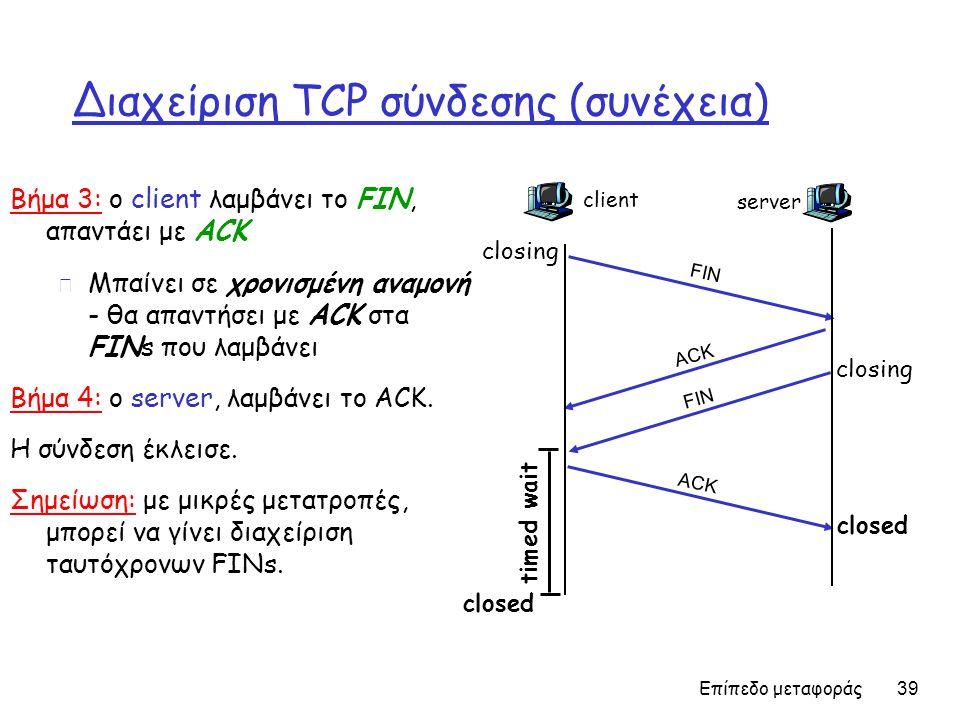 Επίπεδο μεταφοράς 39 Διαχείριση TCP σύνδεσης (συνέχεια) Βήμα 3: ο client λαμβάνει το FIN, απαντάει με ACK m Μπαίνει σε χρονισμένη αναμονή - θα απαντήσει με ACK στα FINs που λαμβάνει Βήμα 4: ο server, λαμβάνει το ACK.